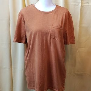 Zara slub short sleeved burnt orange tee shirt